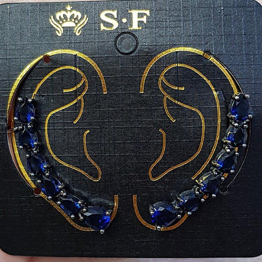 Par De Brincos Ear Cuff Médio Zircônia Grafite Azul Marinho