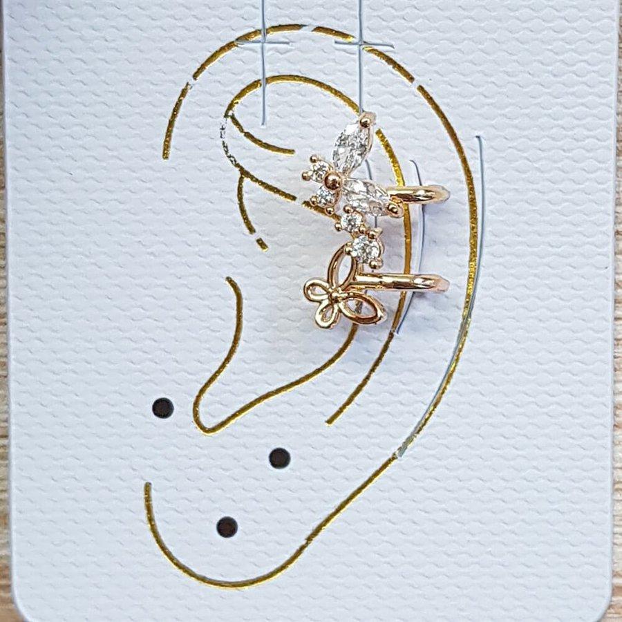 Piercing Fake Zircônia Borboleta Dourado