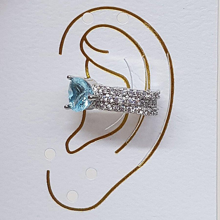 Piercing Fake Zircônia Coração Prata Azul