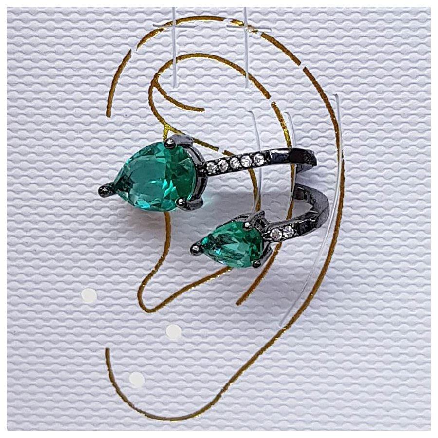 Piercing Fake Zircônia Gota Grafite Verde