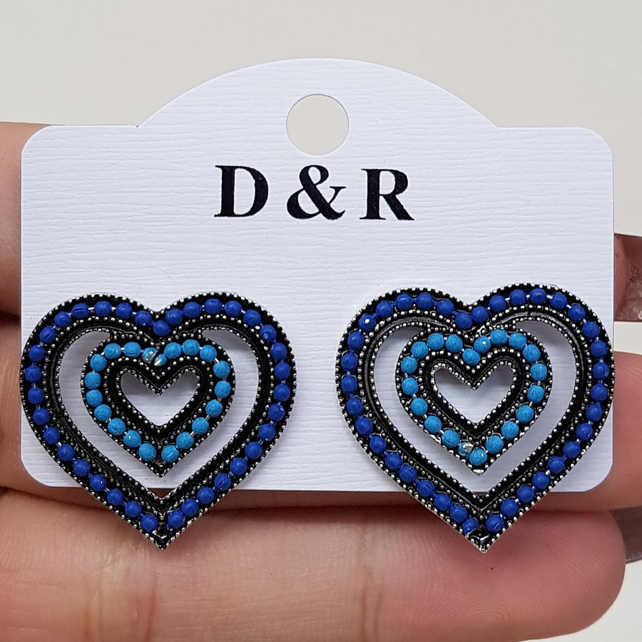 Brinco Ponteira Coração Prata Velha Azul