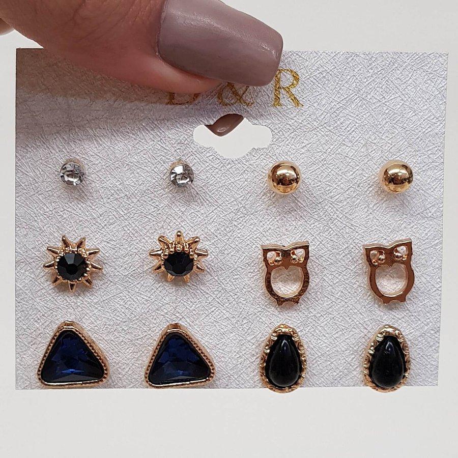 Kit De Brincos Pequenos Dourado Azul Marinho