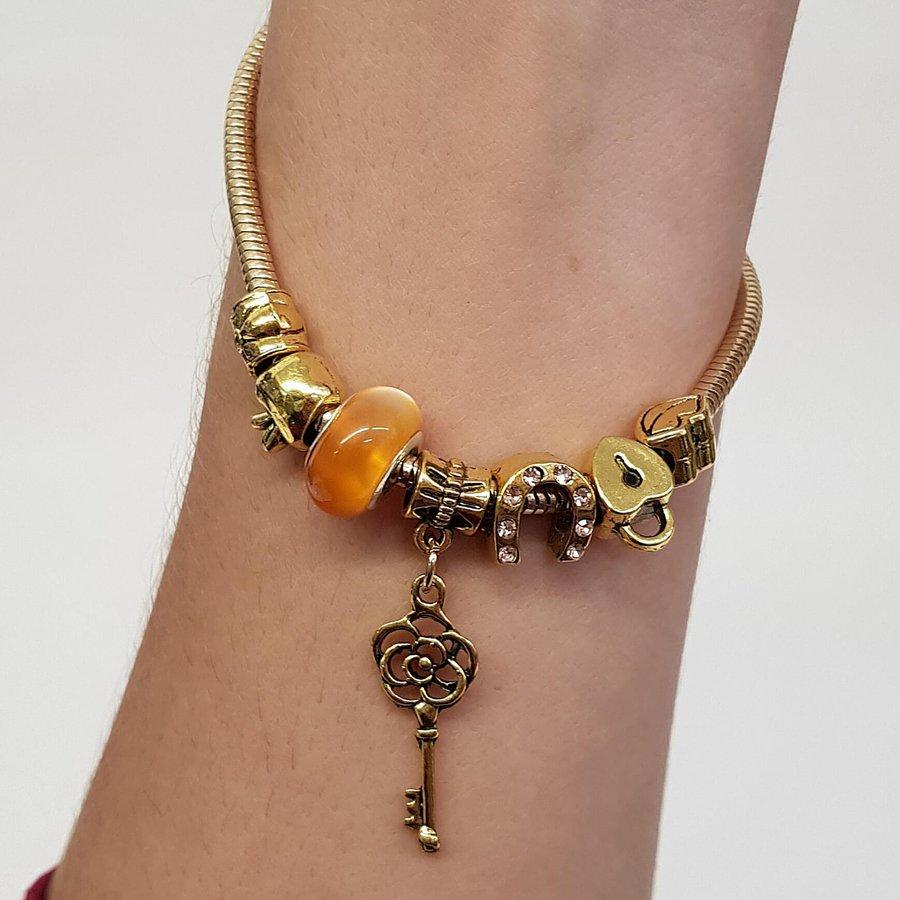 Pulseira Pandora Chave Dourado Amarelo