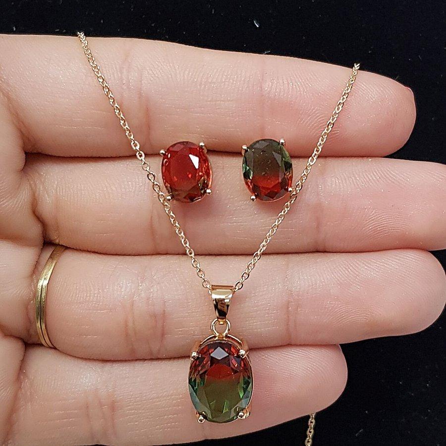 Conjunto Pedra Rainbow Dourado Vermelho