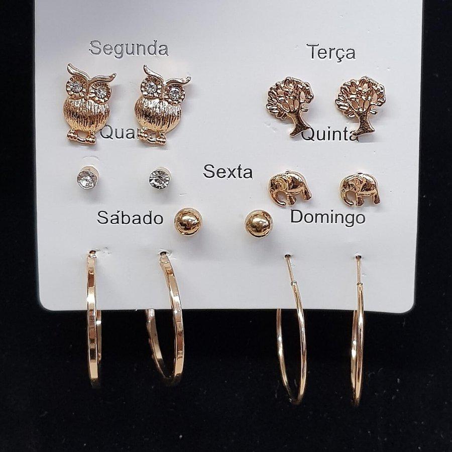 Kit De Brincos Dias Da Semana Dourado Coruja