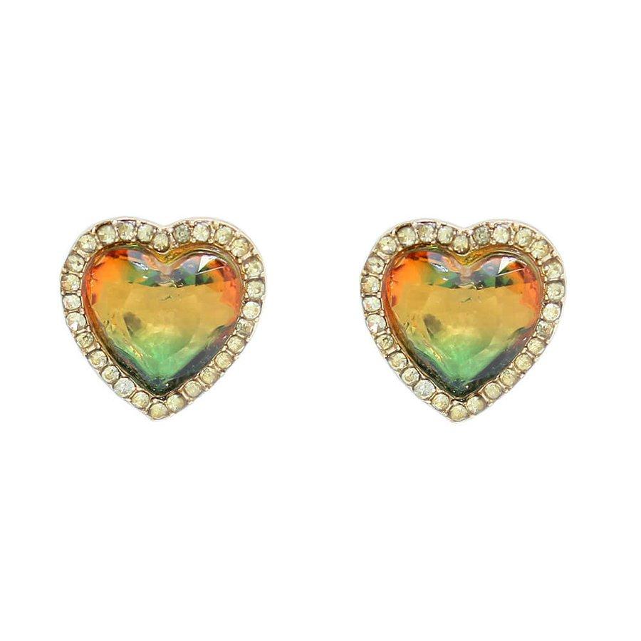 Brinco Pequeno Coração Pedra Rainbow Dourado Verde Amarelo