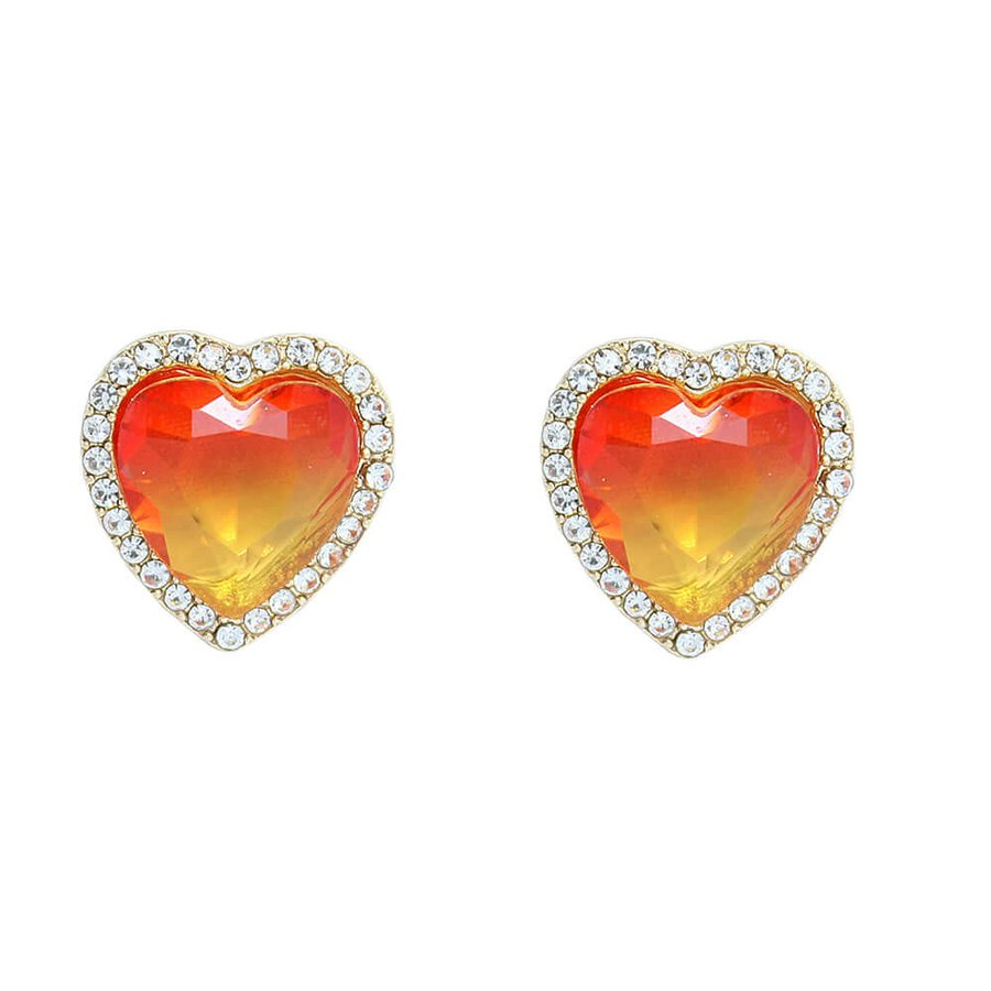Brinco Pequeno Coração Pedra Rainbow Dourado Laranja Amarelo