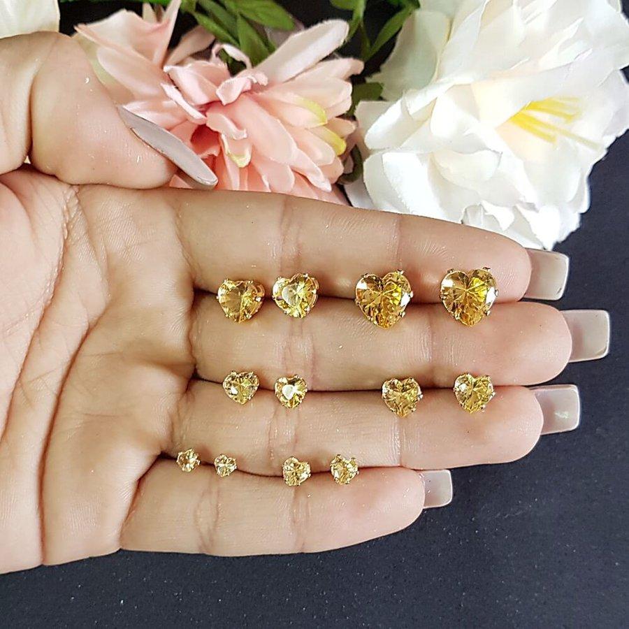 Kit de Brincos Mini Coração Dourado Champagne