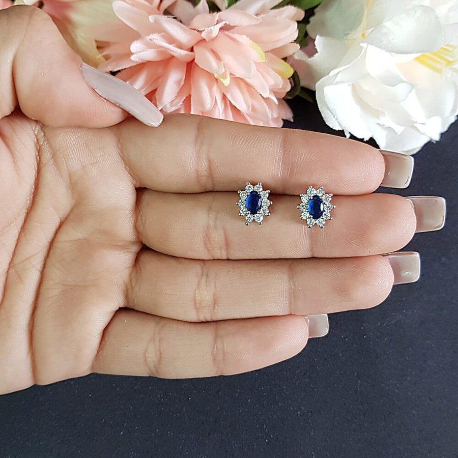 Brinco Mini Pedra Zircônia Prata Azul