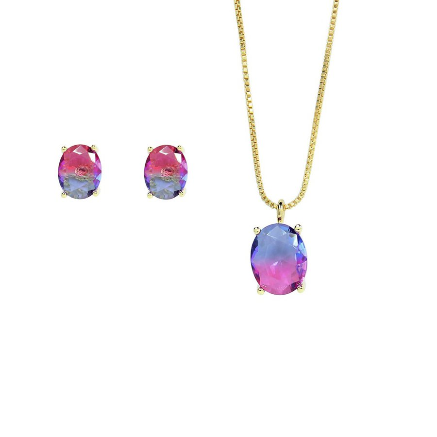 Conjunto Colar E Brinco Pedra Rainbow Oval Dourado Rosa Azul