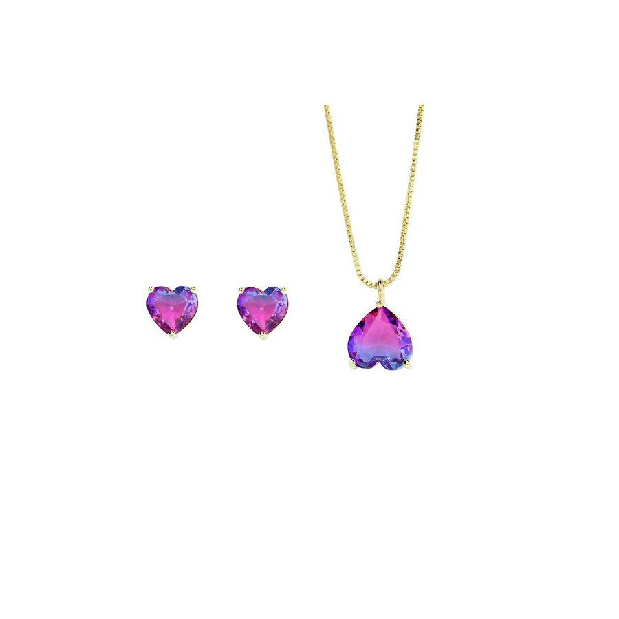 Conjunto Colar E Brinco Pedra Rainbow Coração Dourado Rosa Azul