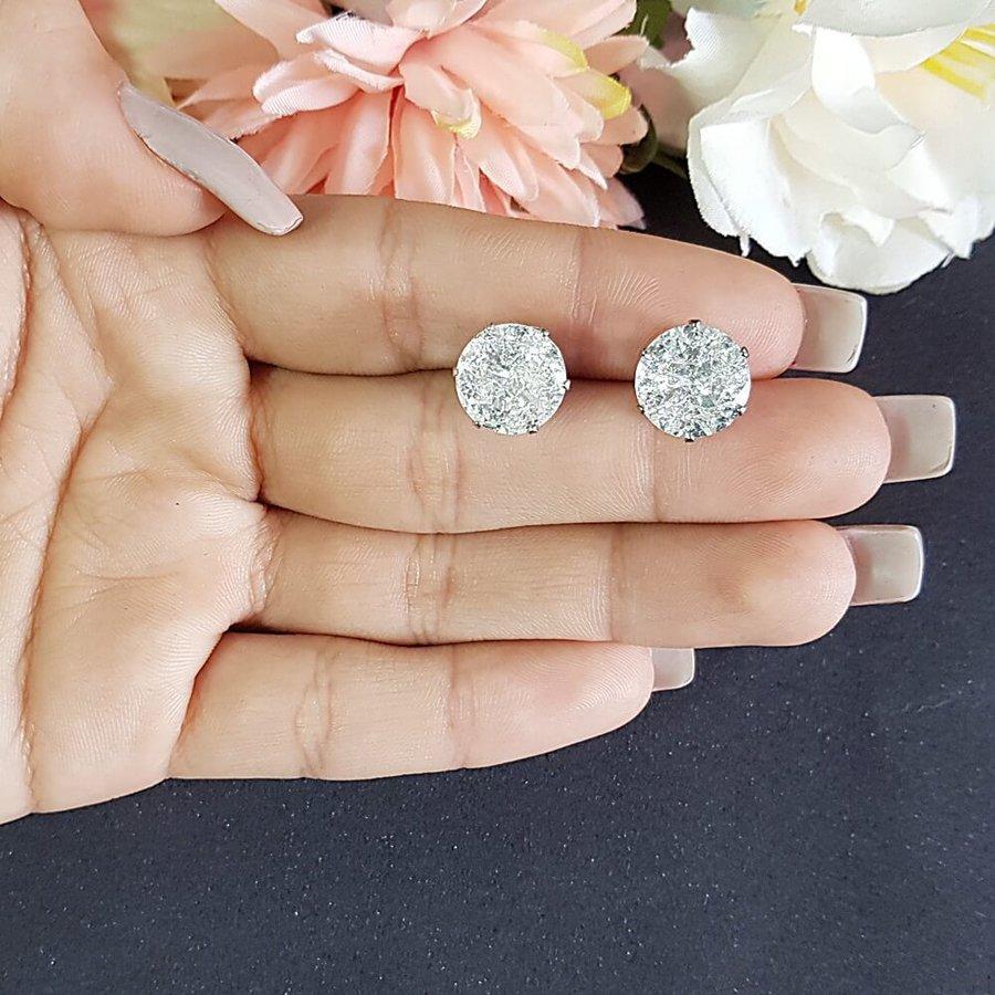 Brinco Pequeno Pedra Fusion Prata Branco