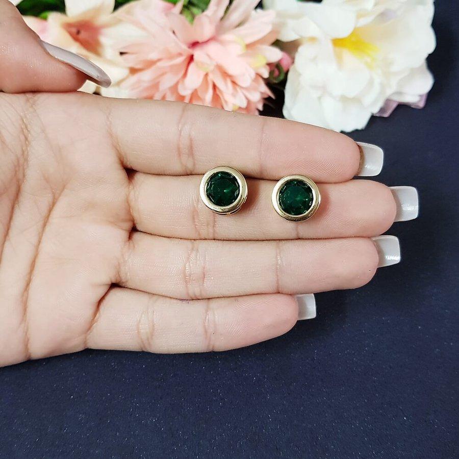 Brinco Pequeno Dourado Verde