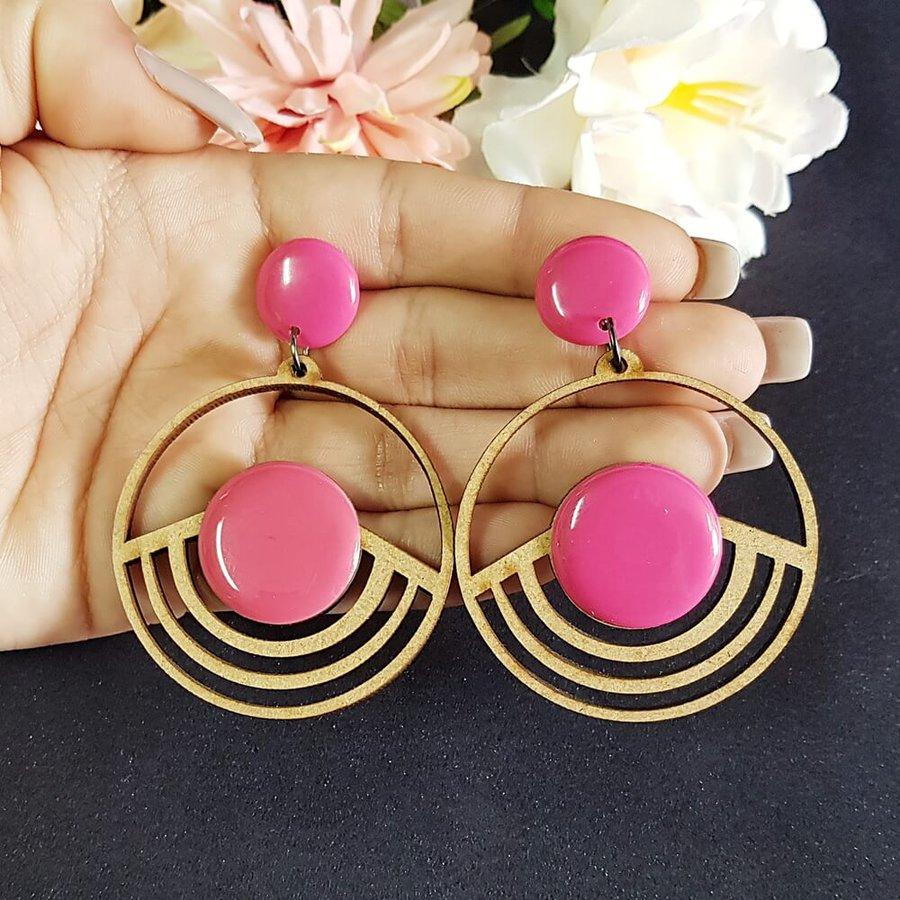 Brinco Madeira Grande Pink