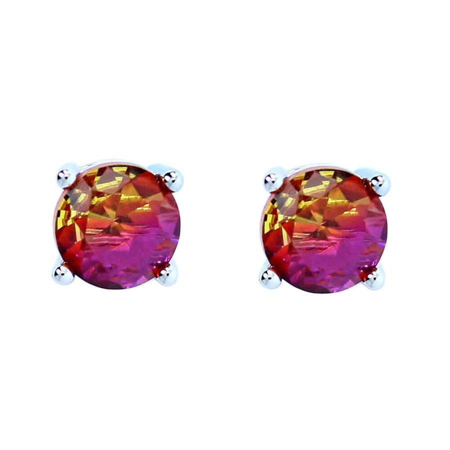 Brinco Mini Pedra Rainbow Brenda Prata Amarelo Pink