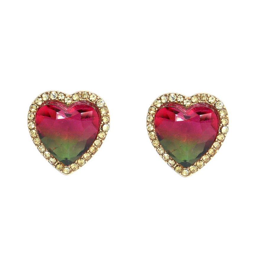 Brinco Pequeno Coração Pedra Rainbow Dourado Champanhe Verde Vermelho