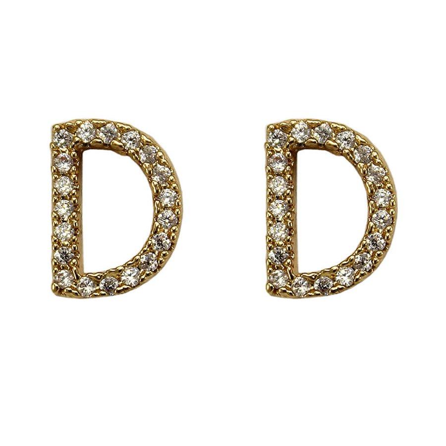 Brinco Zircônia Letra D Dourada *
