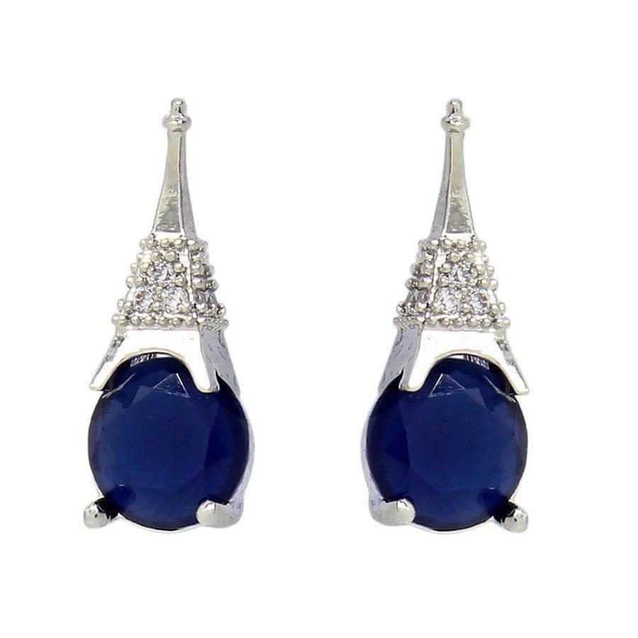 Brinco Eiffel Prata Azul Marinho