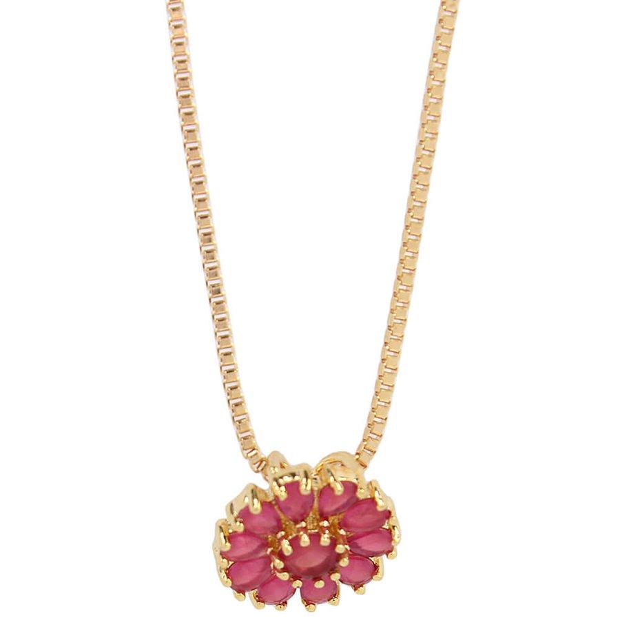 Colar Zircônia Flor Dourado Pink