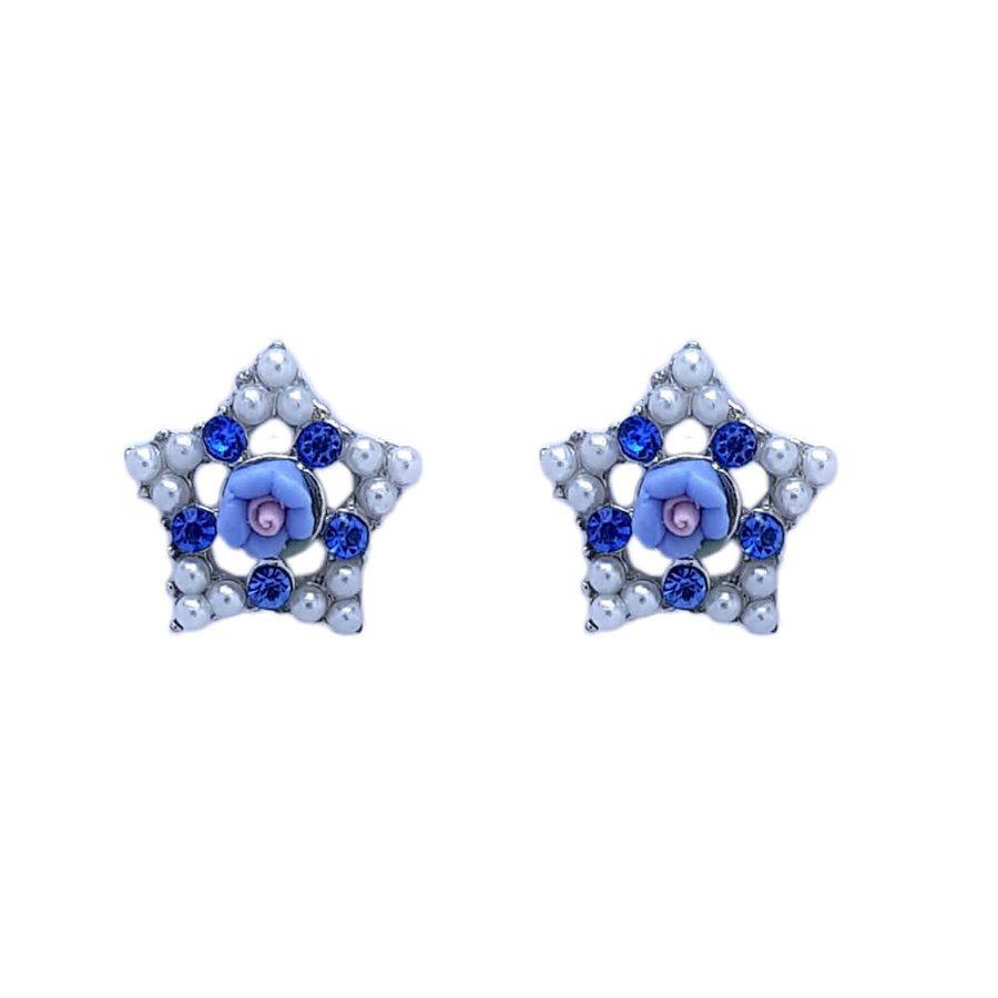 Brinco Pequeno Estrela Grace Prata Azul