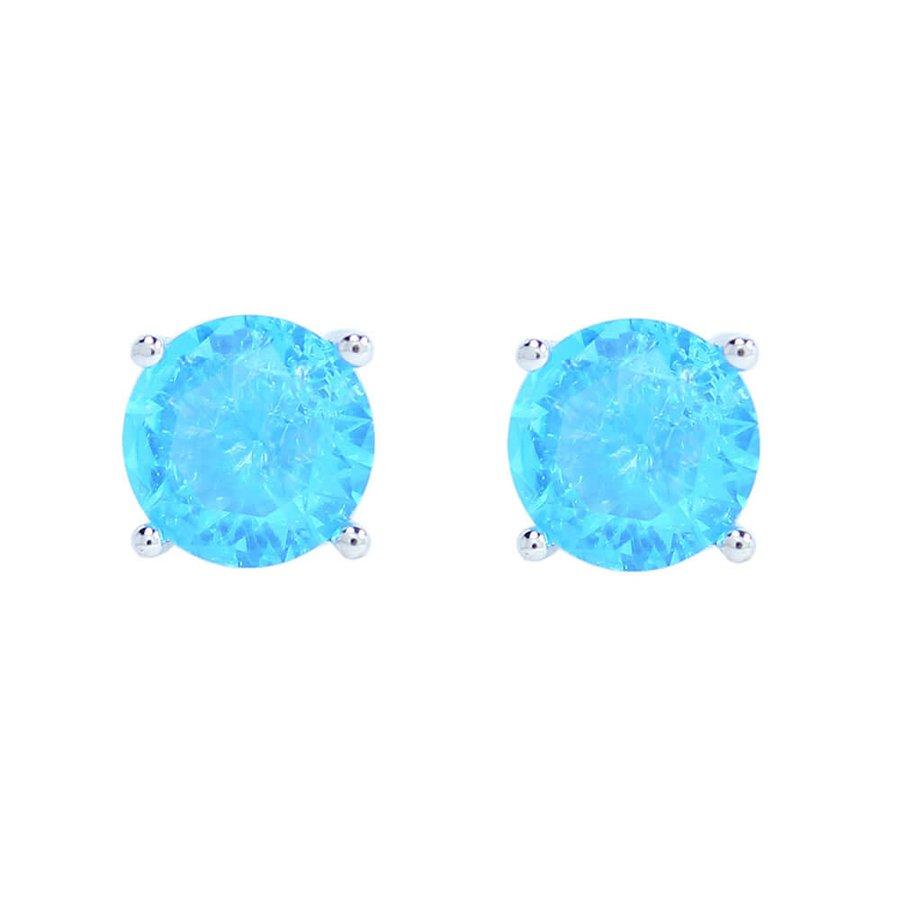 Brinco Mini Pedra Fusion Hadassa Prata Azul Claro