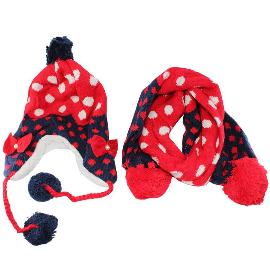Kit Cachecol e Touca Infantil Vermelho Azul Escuro