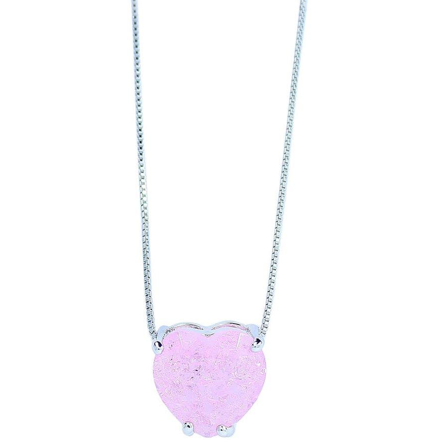 Colar Zircônia Pedra Fusion Coração Laila Prata Rosa