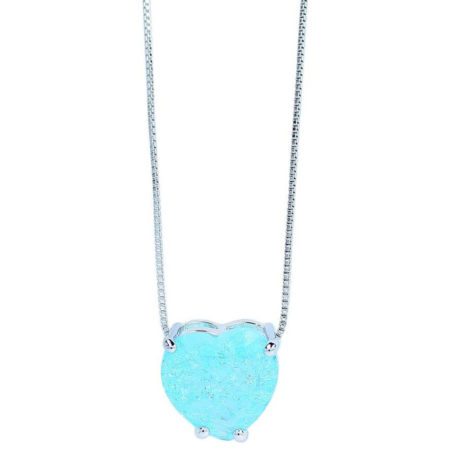 Colar Zircônia Pedra Fusion Coração Laila Prata Azul Claro