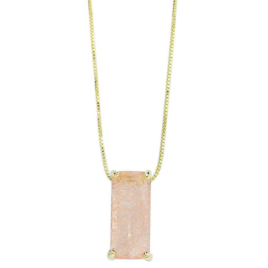 Colar Zircônia Pedra Fusion Lilian Dourado Rosê