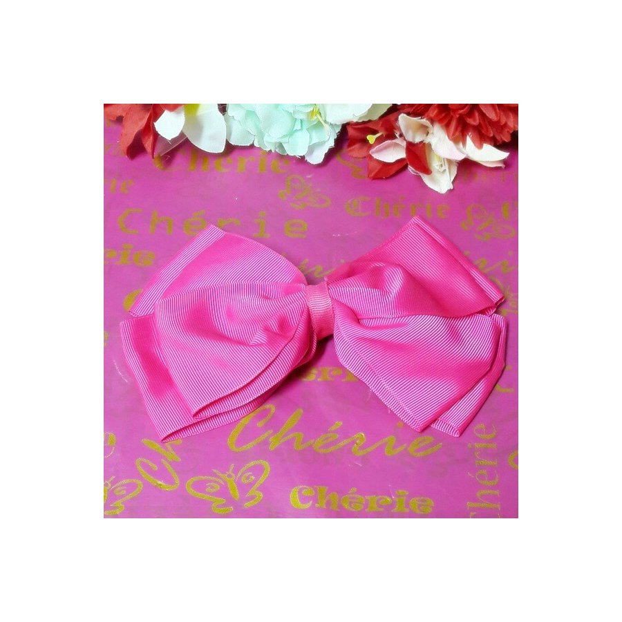 Bico De Pato Laço Listras Grandes Pink