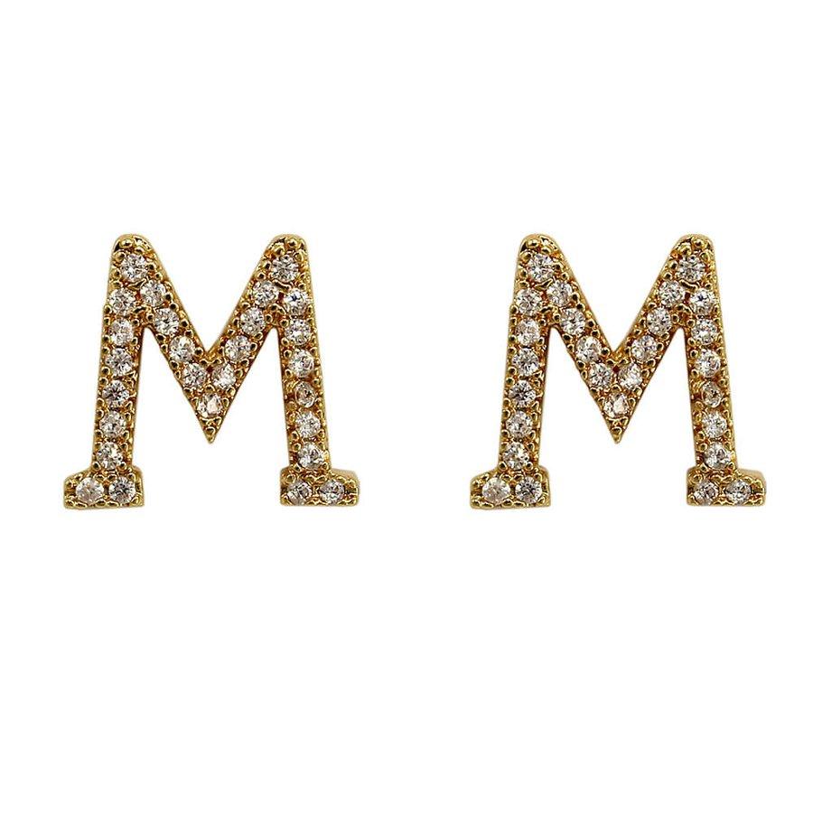 Brinco Zircônia Letra M Dourada *
