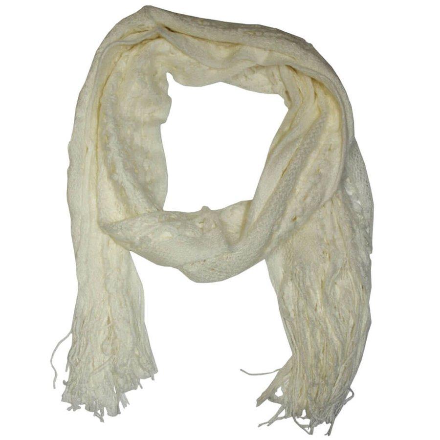 Lenço Cachecol Crochet Nana Branco