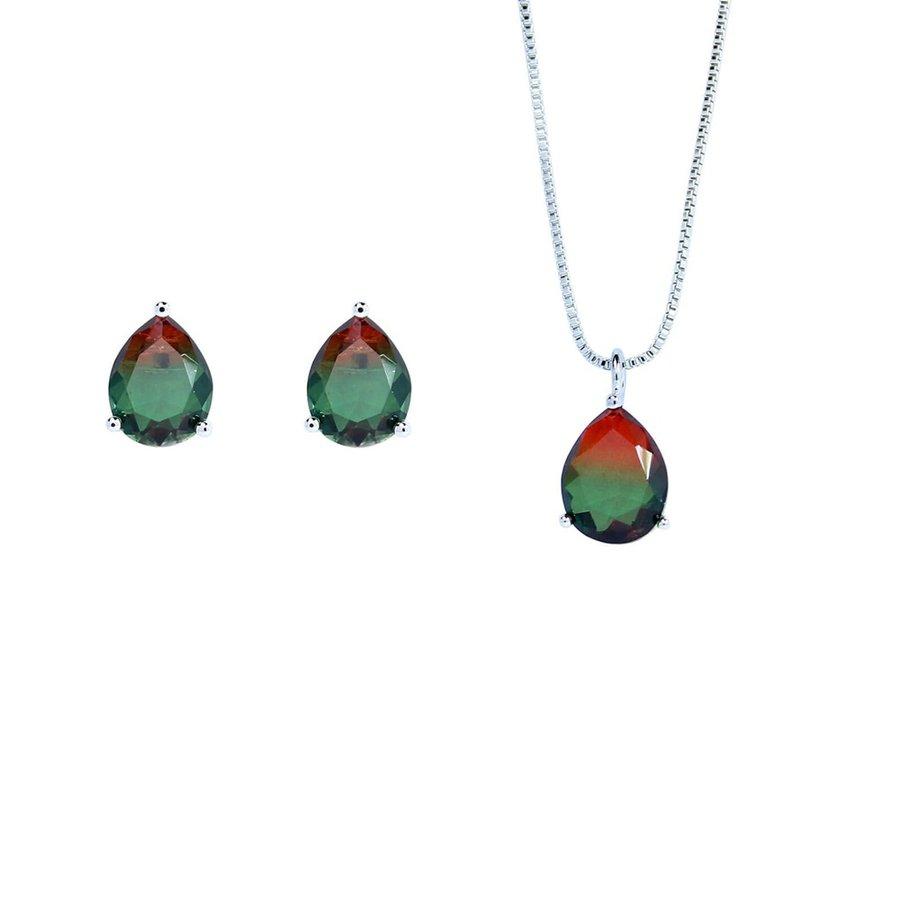Conjunto Colar E Brinco Pedra Rainbow Gota Olivia Prata Vermelho Verde