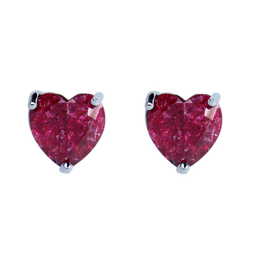 Brinco Pequeno Pedra Fusion Coração Raissa Grafite Vermelho