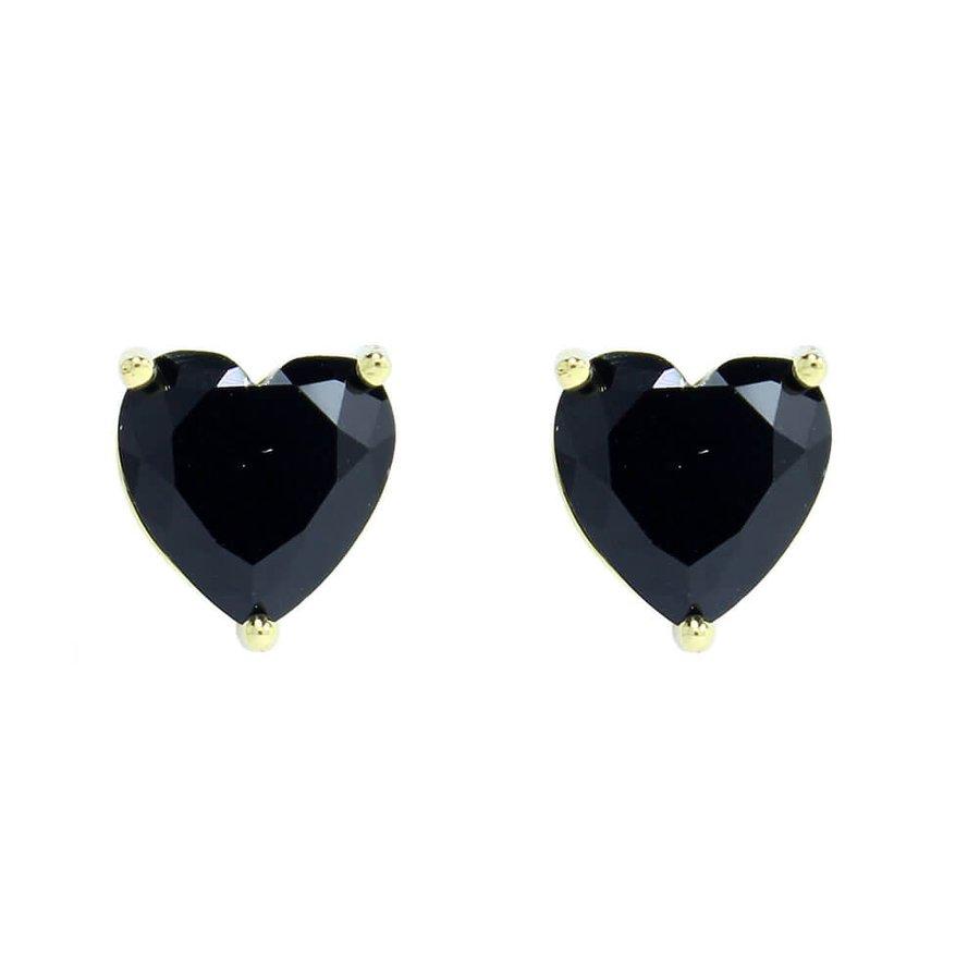 Brinco Pequeno Coração Raissa Dourado Preto