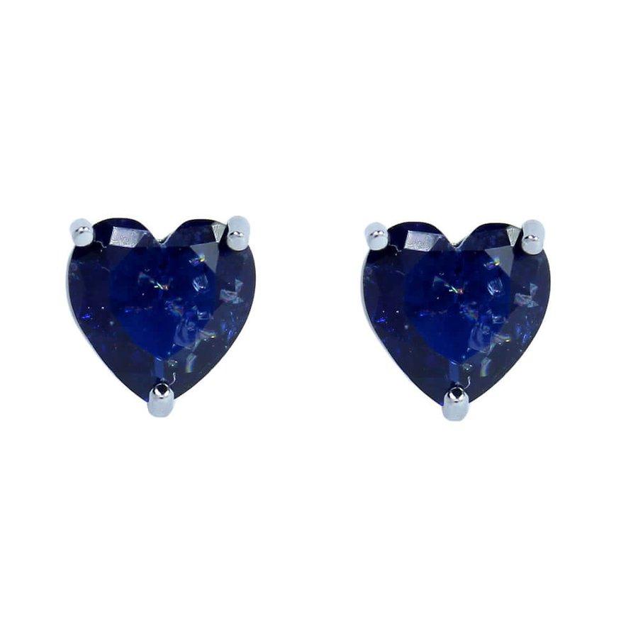 Brinco Pequeno Pedra Fusion Coração Raissa Grafite Azul Marinho