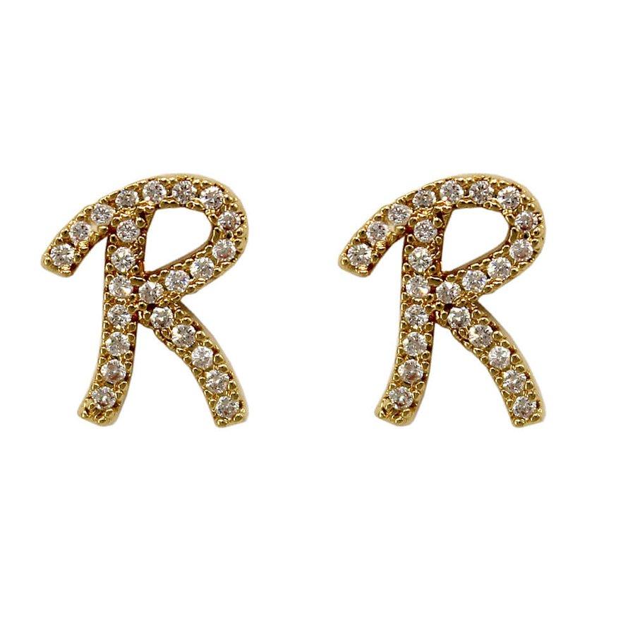 Brinco Zircônia Letra R Dourada *
