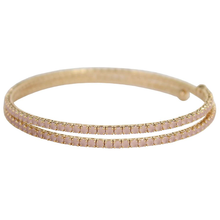 Pulseira Bracelete Zircônia Rubila Dourado Rosa Claro