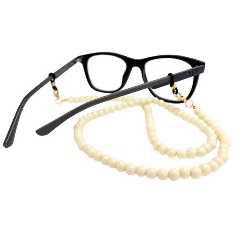 Cordão para Óculos Bolinhas Acrílico Off White