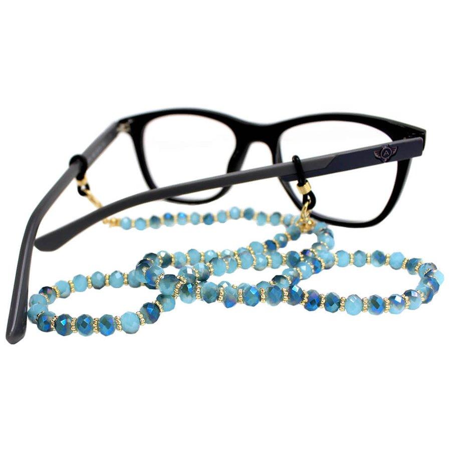 Cordão para Óculos Bolinhas Acrílico Dourado Azul
