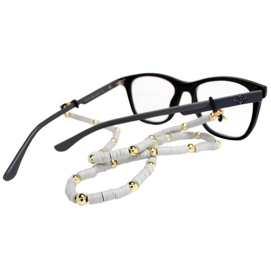 Cordão para Óculos Borrachinhas Branco Perola