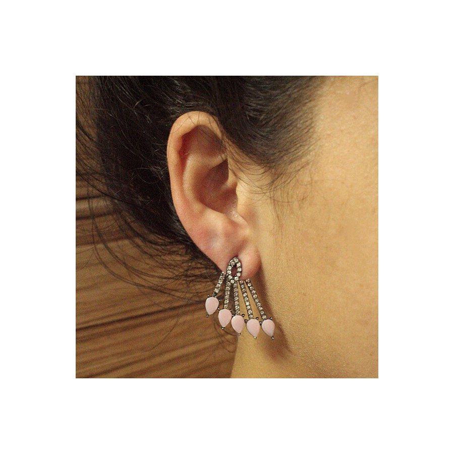 Brinco Ear Jacket Luna Grafite Rosa