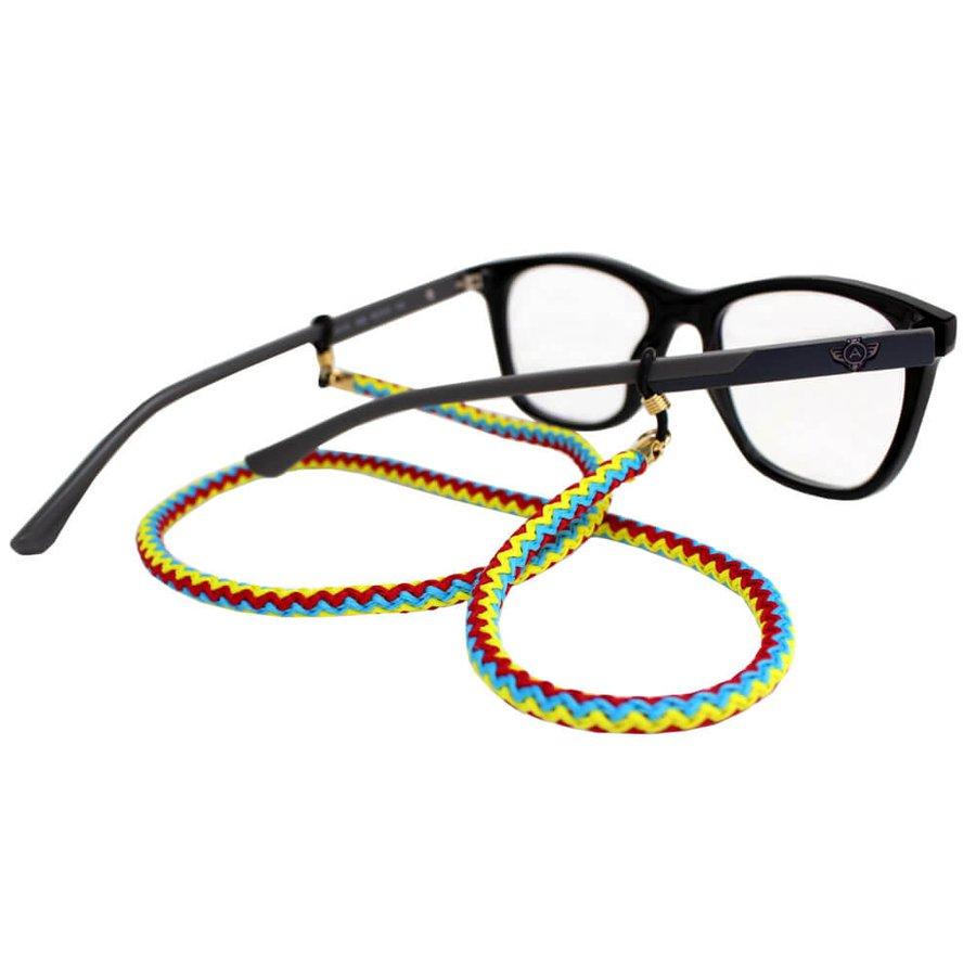 Cordão para Óculos Nó Trançado Vermelho Amarelo
