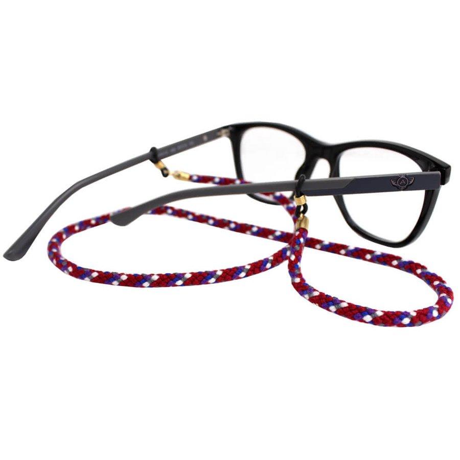 Cordão para Óculos Nó Trançado Vermelho Azul