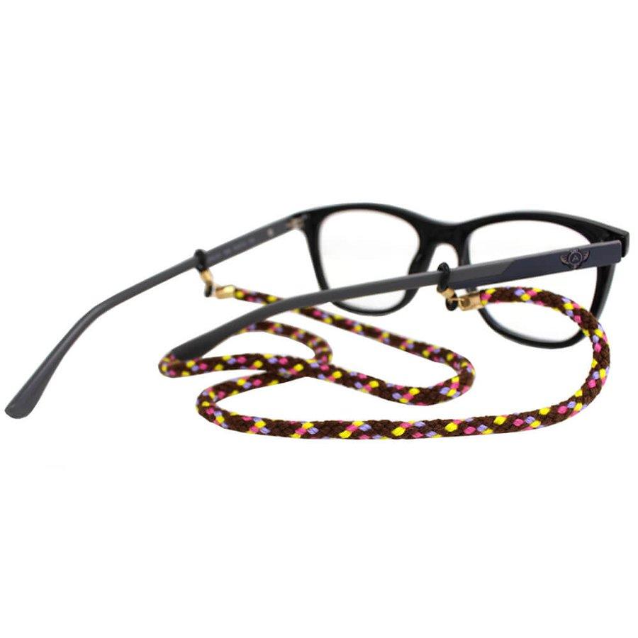 Cordão para Óculos Nó Trançado Marrom Amarelo