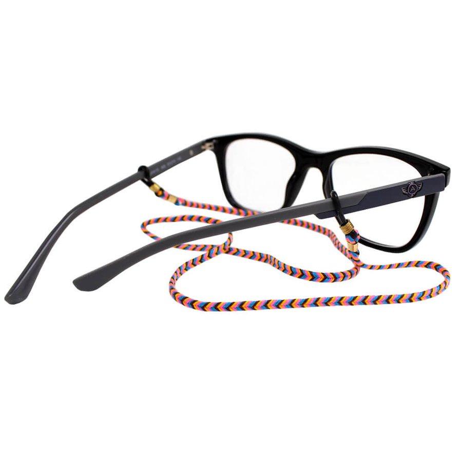 Cordão para Óculos Trancinha Bem Fina Amarelo Rosa