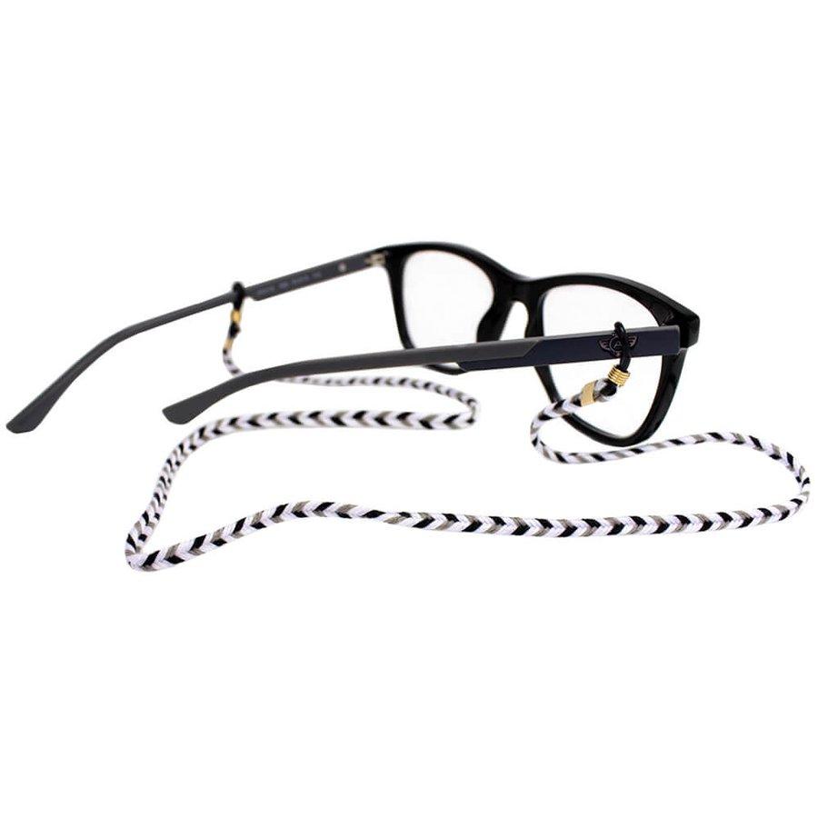 Cordão para Óculos Trancinha Bem Fina Preto Branco