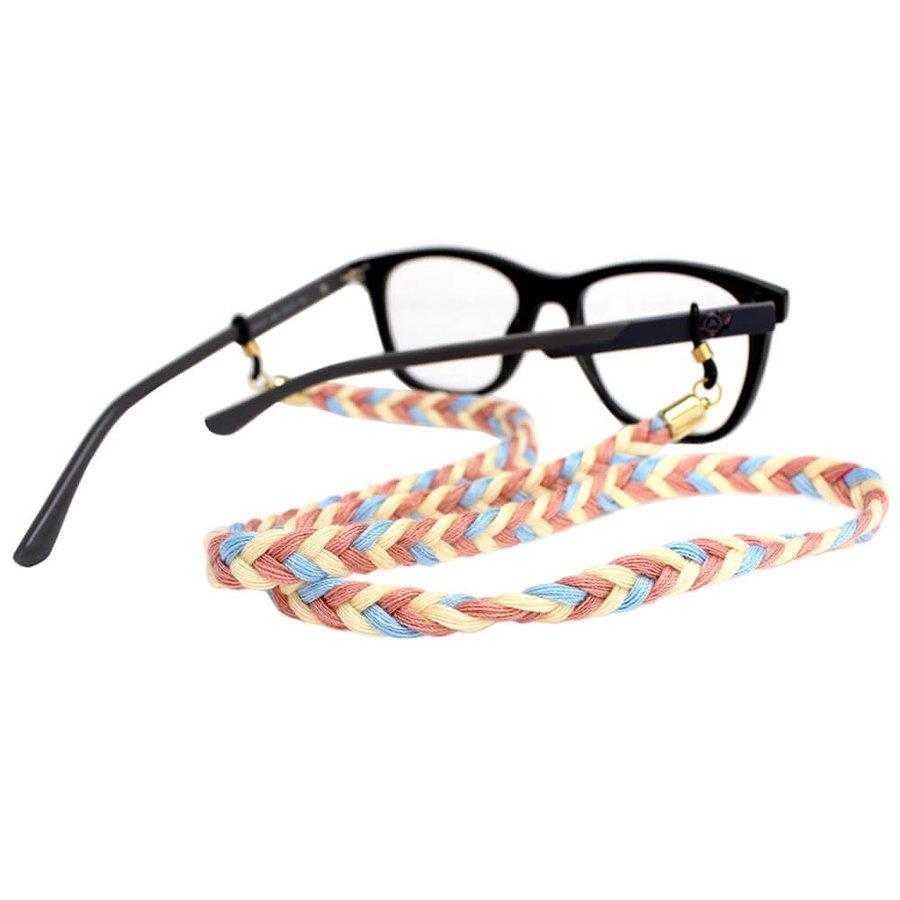 Cordão para Óculos Trancinha Azul Claro Nude