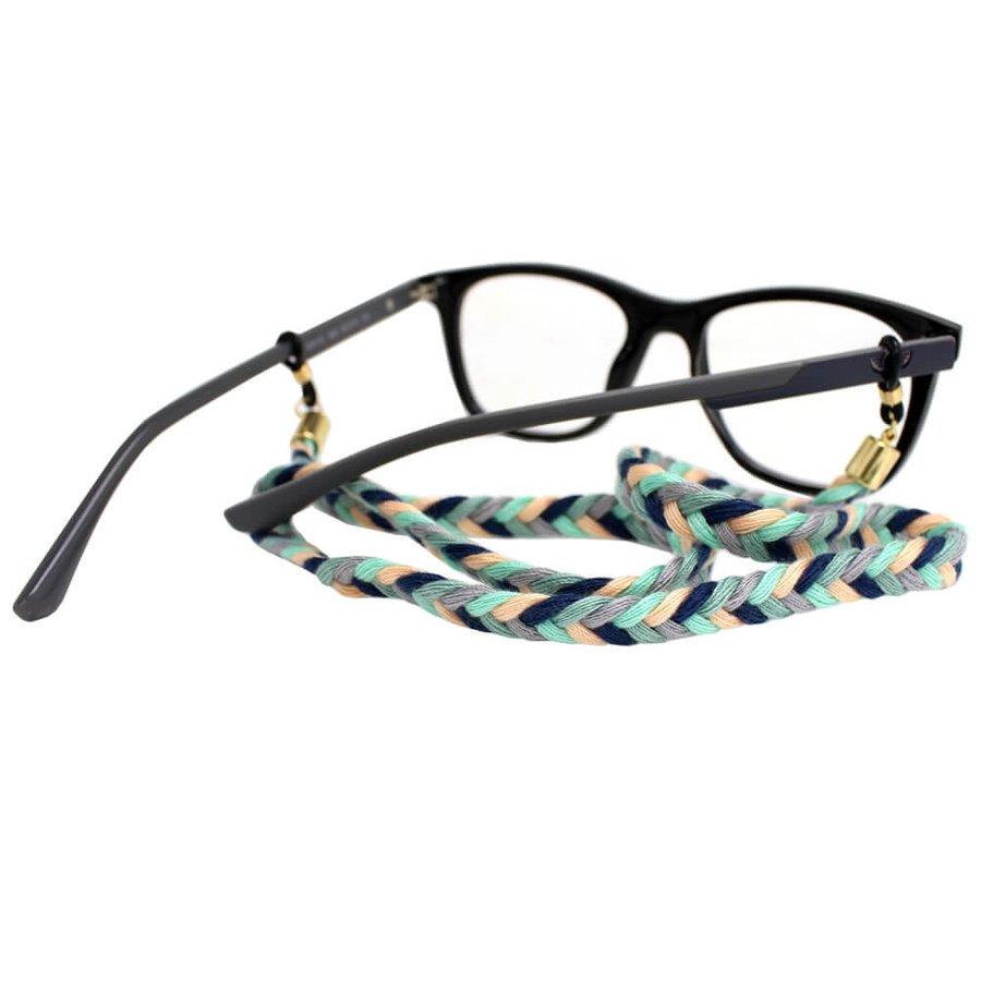 Cordão para Óculos Trancinha Azul Marinho Cinza