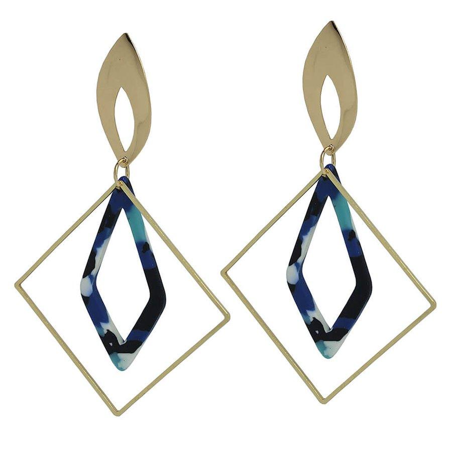 Brinco Acrílico Triang Dourado Azul Mesclado *